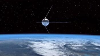 """<i>Sputnik 1</i> in <a href=""""/wiki/Orbit"""" title=""""Orbit"""">orbit</a> of <a href=""""/wiki/Earth"""" title=""""Earth"""">Earth</a> in <a href=""""/wiki/1957"""" title=""""1957"""">1957</a>"""
