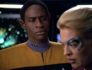 Tuvok counsels Seven of Nine