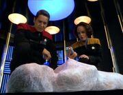 Chakotay und Torres untersuchen einen Leichnam