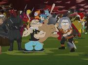 Khan Noonien Singh kämpft mit einer Lirpa gegen Popeye in South Park