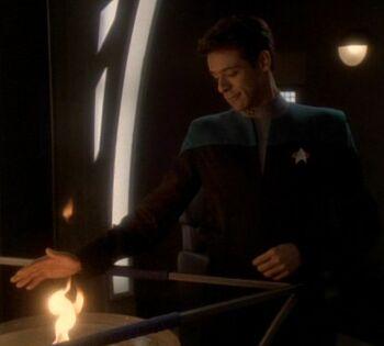 Julian Bashir as Torias Dax during Jadzia's <i>zhian'tara</i>