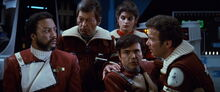 Terrell, McCoy, Saavik, Chekov, and Kirk on Regula I