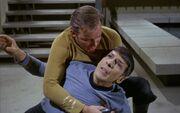 Kirk holding Spock on Deneva