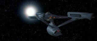 USS Enterprise-A leaves Khitomer