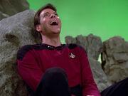 Riker laughs at Q's plan