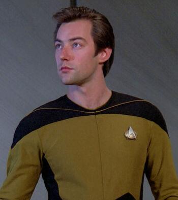"Lieutenant Darien Wallace in <a href=""/wiki/2365"" title=""2365"">2365</a>"