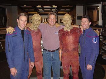 """<a href=""""/wiki/Shawn_Crowder"""" title=""""Shawn Crowder"""">Shawn Crowder</a>, Paul Sklar, <a href=""""/wiki/Vince_Deadrick,_Jr."""" title=""""Vince Deadrick, Jr."""">Vince Deadrick, Jr.</a>, an unknown actor, and <a href=""""/wiki/Marty_Murray"""" title=""""Marty Murray"""">Marty Murray</a> on the set of <i>Enterprise</i>"""