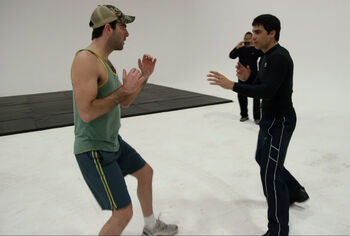 Arrias training with Zachary Quinto