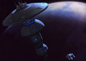 USS Enterprise approaches the Earth Spacedock