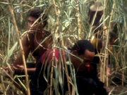 Sisko und O'Brien helfen auf dem Feld