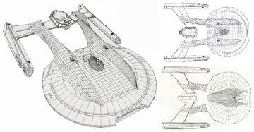 Akira class CGI wireframe model by ILM