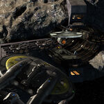 Tholian drydock with USS Defiant and ISS Enterprise