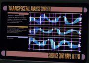 Ergebnis einer transspektralen Analyse auf einem LCARS-Terminal