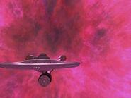 USS Enterprise leaving galactic barrier, remastered