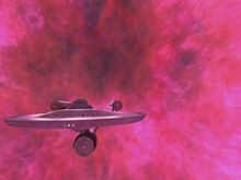 USS Enterprise leaving galactic barrier, remastered