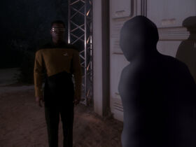 Geordi La Forge investigates vector analysis anomaly
