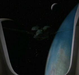 Klingon Bird-of-Prey orbits Bajor VIII
