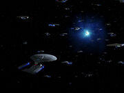 USS Enterprise-D convention near a quantum fissure