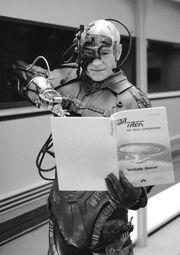 Stewart reviews SH script in Locutus costume