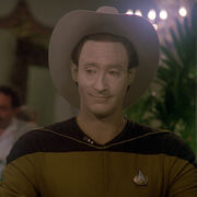 Data wearing a Stetson