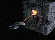 Phasereinsatz gegen Borg-Kubus