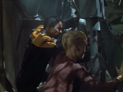 Tuvok and Seven escape from the Raven