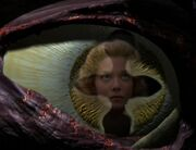 Kes reflected in the eye of a member of Species 8472