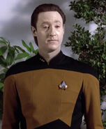 Data wearing an early 2366 uniform jacket