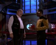 La Forge and Scott in Enterprise-D engineering