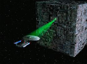 Borg cube tractors Enterprise-D
