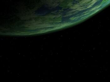 The USS Enterprise-D in orbit of planet Terlina III