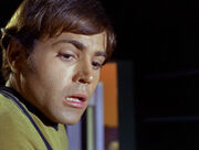 Chekov frightened by a dead body on Gamma Hydra IV
