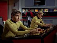 Chekov at navigation, Kyle at helm