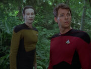 Data and Riker in holodeck forest