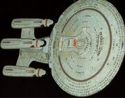 Galaxy class USS Enterprise future variant finished studio model, dorsal view