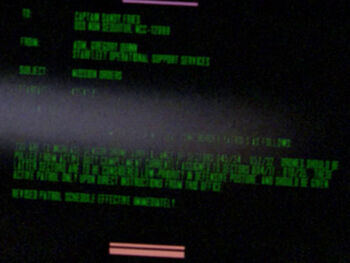 Starfleet Command order received by the USS <i>Non Sequitur</i> in 2364