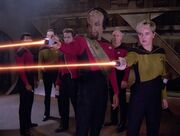 Worf and Yar fire phasers