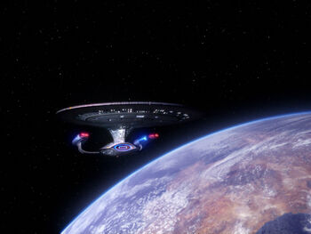 The USS Enterprise-D in orbit of Kesprytt III