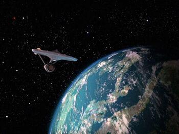 The Enterprise orbits Capella IV