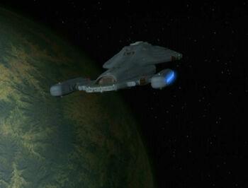 The <i>Voyager</i> in orvit of the Mari homeworld