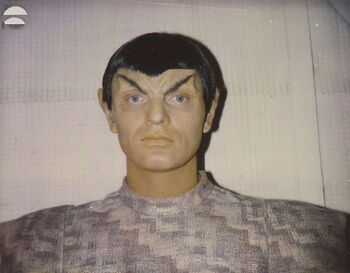 Ted Parker as a Romulan on a makeup continuity polaroid