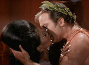 Uhura and Kirk kiss