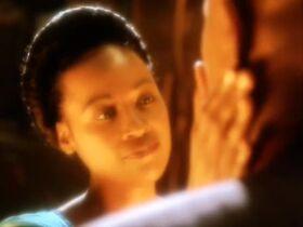 Sarah Sisko touches Benjamin Sisko