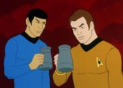 Spock and Kirk have a drink
