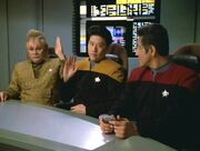 Neelix, Kim, and Chakotay, 2373