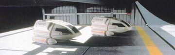 Berman and Piller in Enterprise-D main shuttlebay studio model profile view