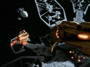 Kazon fighters bearing down on the USS Voyager and Val Jean