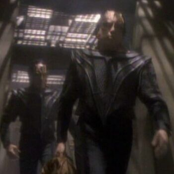 "Whitman as a Cardassian officer, with <a href=""/wiki/William_Powell-Blair"" title=""William Powell-Blair"">William Powell-Blair</a>"