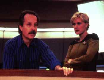 """...with <a href=""""/wiki/Denise_Crosby"""" title=""""Denise Crosby"""">Denise Crosby</a> on the set of """"All Good Things..."""""""