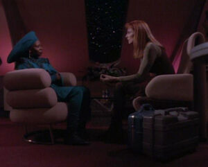 Guinan and Beverly Crusher, 2369
